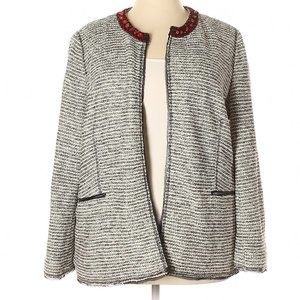 Chico's Ecru/Black Embellished Neck Tweed Jacket